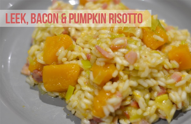 Leek, bacon and pumpkin risotto recipe