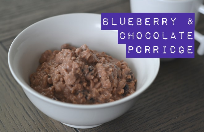 Blueberry and chocolate porridge recipe