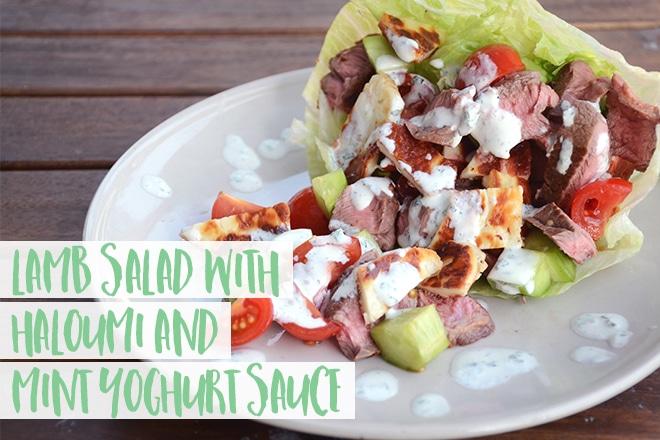 Lamb salad with haloumi and mint yoghurt sauce
