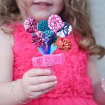 Fabric scrap and pipe cleaner flower bouquet