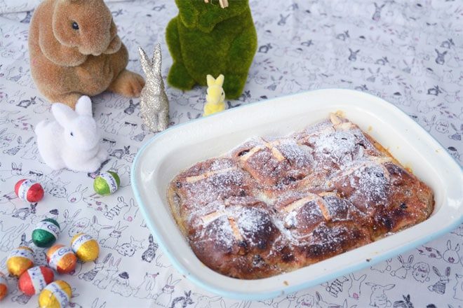 Chocolate hot cross bun bread and butter pudding