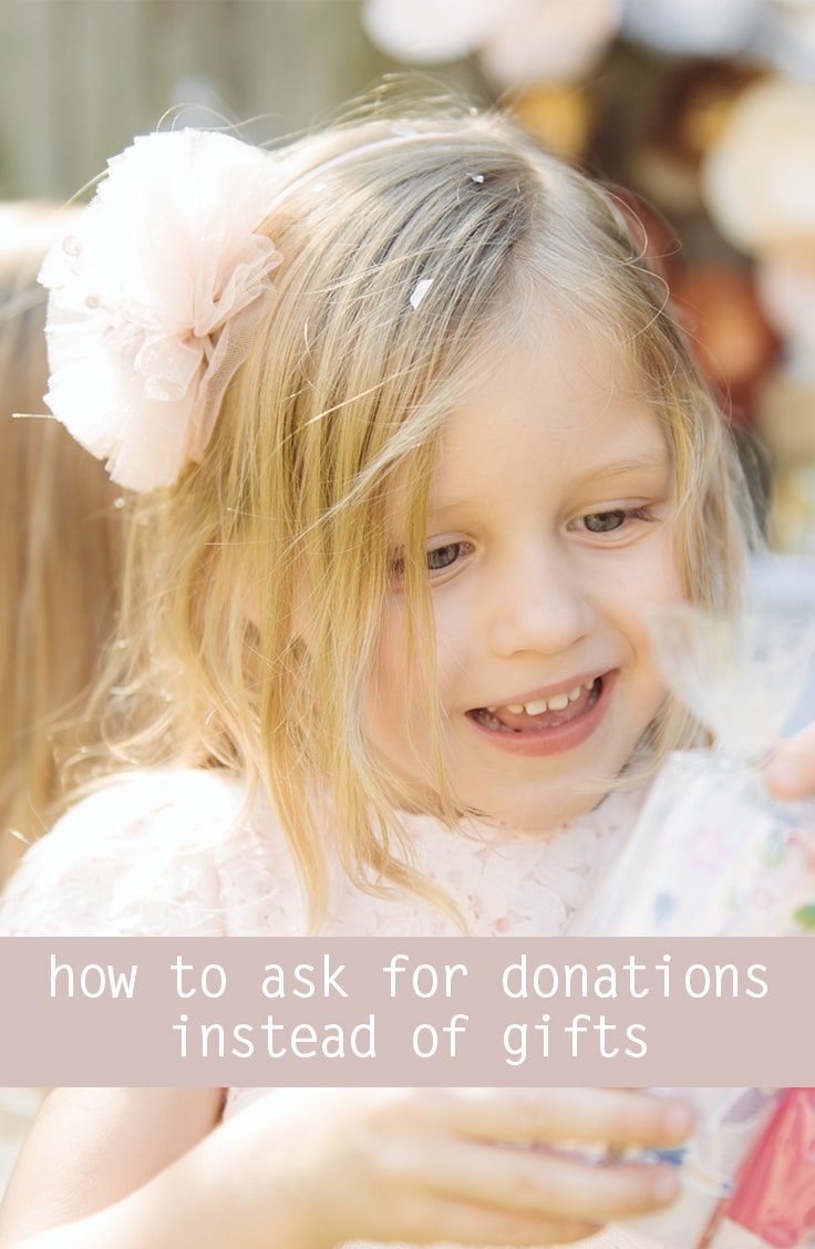 asking for charity donations instead of gifts