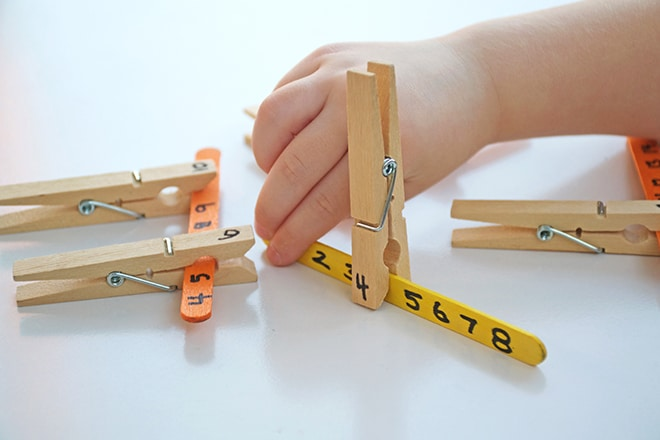 Peg missing numbers and letters activity