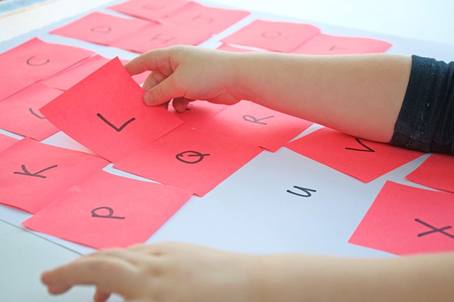 post-it note alphabet learning activity