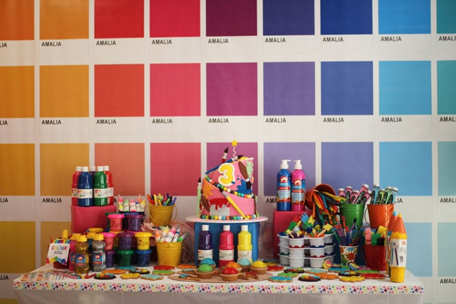 Amalia's 3rd birthday – colourful art studio