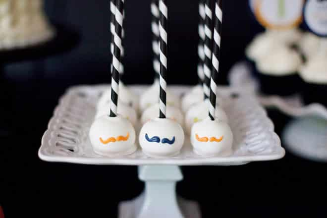 hipster party moustache cake pops