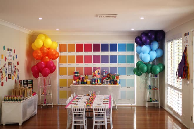 kids art studio party room setup