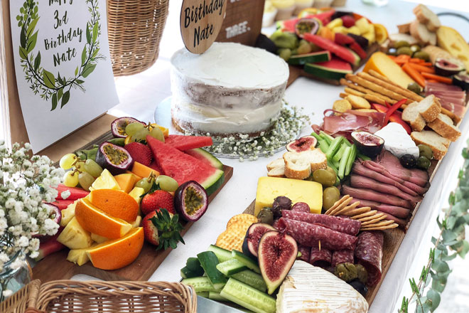 party grazing platter for a kids party