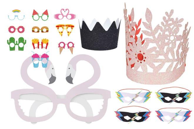 Party hats masks decorations