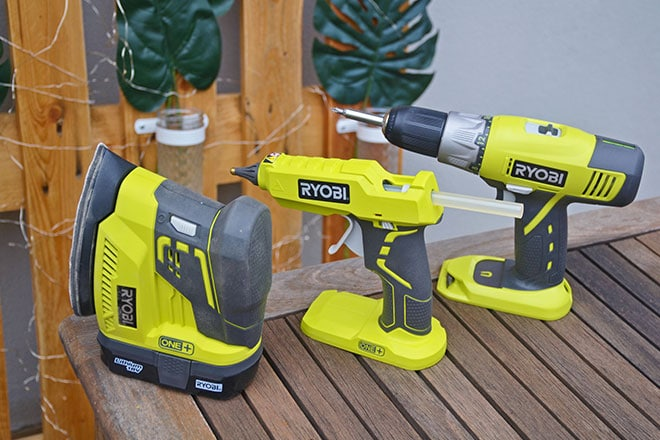 RYOBI ONE+ tools used to make recycled pallet wall hanging