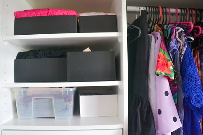 KonMari clothes on shelves