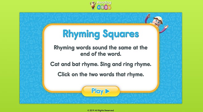 ABC Reading Eggs Games - Rhyming Squares